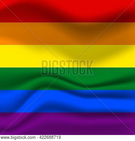 Flag Lgbt Squared Icon, Badge Or Button. Template Design, Vector Illustration. Love Wins. Lgbt Symbo
