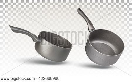 Set Of Two Stewpan For Cooking Isolated On A Transparent Background. Kitchen Utensils, Dishes. Vecto