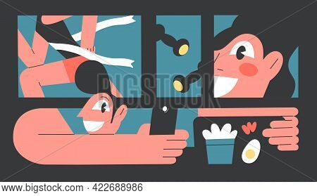 Vector Illustration Man Photographing Food, Healthy Lifestyle