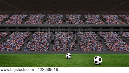 Composition of two footballs on football pitch in sports stadium. championships, sports and competition concept digitally generated image.