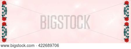 Widescreen Background With Fractal Overlay And Rose Flower Border