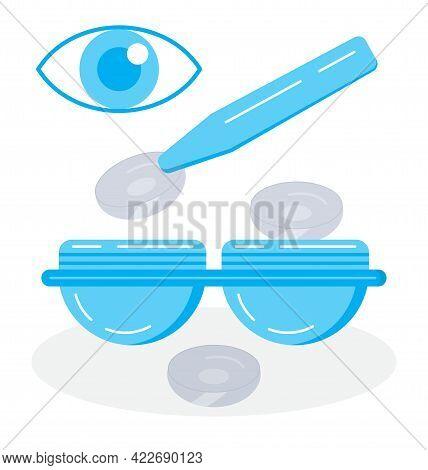 Contact Lens Illustratation Vector. Medical Ophthalmologist Eyesight