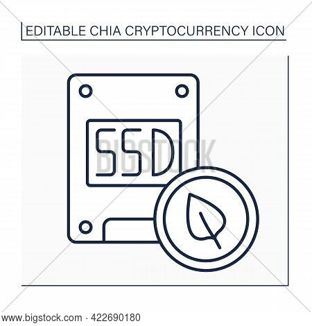 Fast Ssd Line Icon. Solid-state Drive. Storage Device. Added Extra Flash-based Memory. Eco-friendly