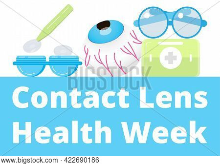 Contact Lens Health Week In August. Glaucoma Treatment Illustratation Vector.