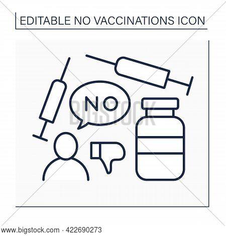 Vaccine Line Icon. Voluntary Refusal Of Vaccination. Covid19 Disease. No Vaccinations Concept. Isola