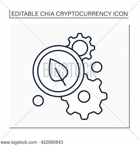 Chia Coin Processing Line Icon. Mining Process. Space And Time Proof. Farming In Chia Networks. Stor