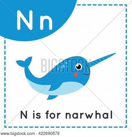 Animal Alphabet Flashcard For Children. Learning Letter N. N Is For Narwhal.