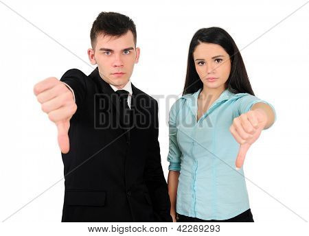 Isolated young business couple disagree