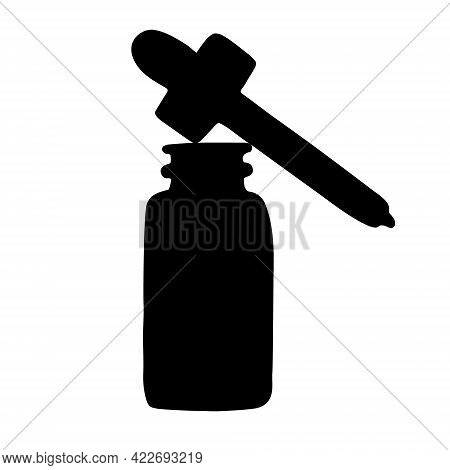 Vector Hand Drawn Oil Essence Bottle Silhouette With Dropper Isolated On White Background