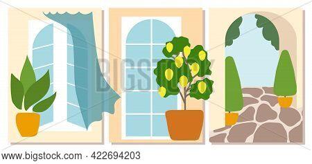 Set Of Abstract Summer Posters For Room, Minimalistic Design. Italian Mood, Windows, Lemon Tree, Box