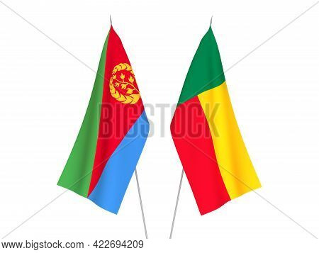 National Fabric Flags Of Benin And Eritrea Isolated On White Background. 3d Rendering Illustration.