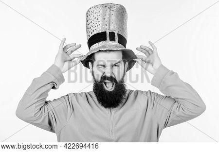Myth Of Leprechaun. Happy Patricks Day. Man Bearded Hipster Wear Green Clothing And Hat Patricks Day
