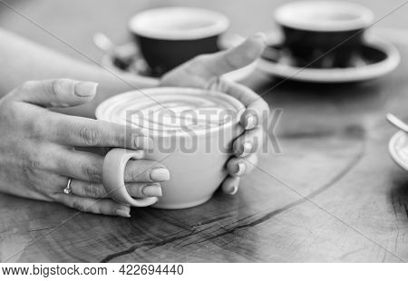 Cup Of Coffee With Heart Shape. Good Morning Coffee. Barista Serve Coffee. Morning Vibes In Cafe. He