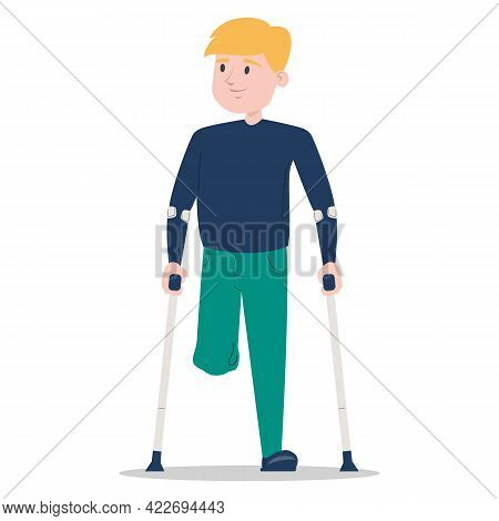 Little Boy On Crutches Vector Isolated. Injured Kid