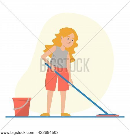 Child Washing Floor At Home Vector Isolated