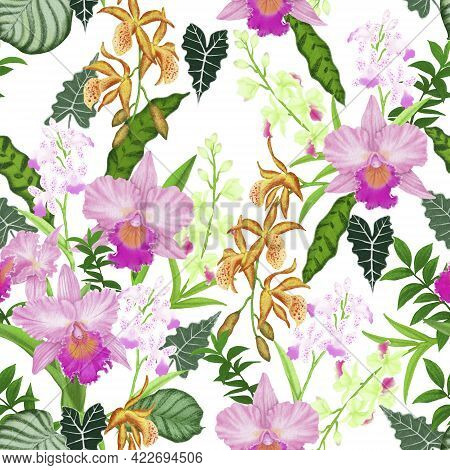 Pink Cattleya Orchid Flower Blossom And Green Leaf Seamless Pattern On White Background Isolated And