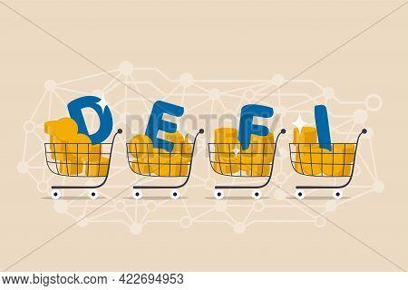 Decentralized Finance, New Technology Using Blockchain For Banking, Digital Money Or Financial Platf