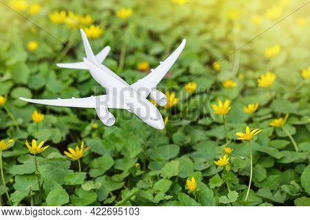 White Airplane Model On Flower Fresh Green Leaves Background. Clean Green Energy, Biofuel For Aviati
