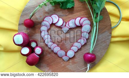 Close-up Heart Of Radish Slices. View From Above. Early Root Vegetables For Making Dietary Vitamin S
