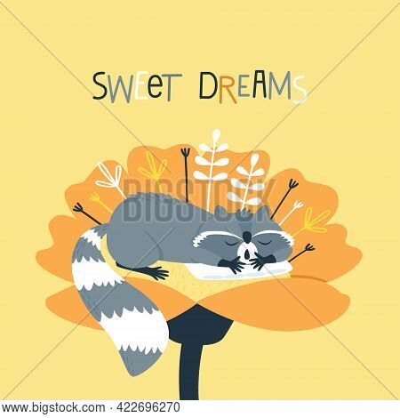 A Cute Raccoon Sleeps On A Pillow Inside A Flower. Funny Cartoon Character On A Yellow Background. A