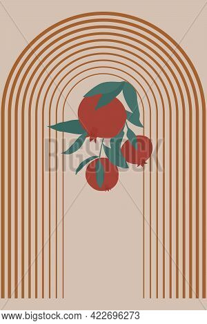 Minimalist Abstract Illustration In A Modern Style. Different Shapes, Lines And Arches In Boho And S