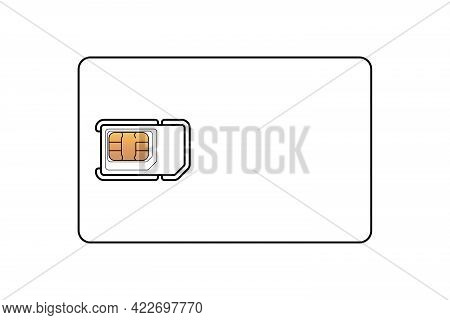 Mobile Phone Sim Card With Standard, Micro And Nano Emv Chip Linear Design Template. Plastic Card Sy