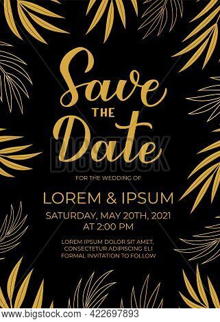 Save The Date Card Template. Black And Gold Invitation. Minimalist Geometric Design Birthday Party I