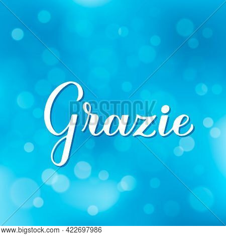 Thank You Calligraphy Hand Lettering In Italian Language On Blurred Bokeh Background. Vector Templat