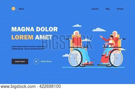 Old People In Wheelchair Holding Kid And Talking. Retirement, Child, Grandparent Flat Vector Illustr