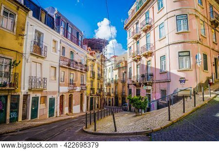 Lisbon, Portugal - March 25, 2017: Rua Poiais De Sao Bento Street With Tram Line In Lisbon. Typical
