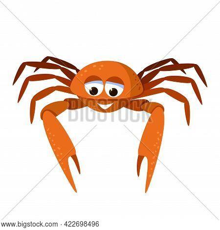 Cartoon Cute Crab. Marine Broadly Built Decapod Crustacean Mascot. Character Of Sea Creature