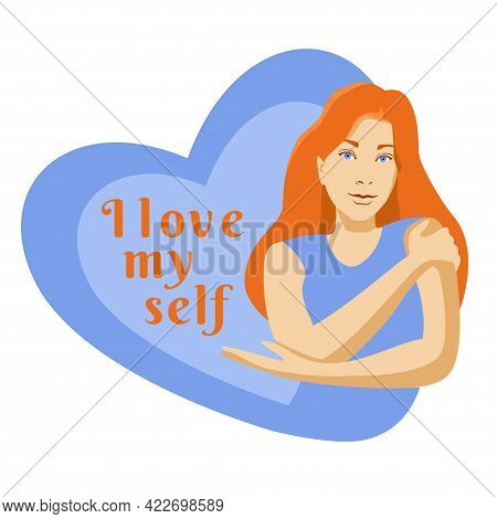 Self Care Cartoon Red Hair Young Girl Hugging Herself With Hearts On Background Card Poster Concept.