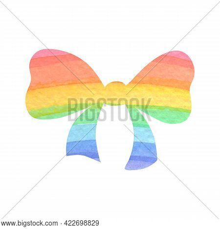 Watercolor Rainbow Bow. Watercolour Isolated Image On White Background. Festive Ribbon For Decoratio