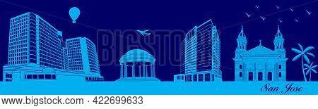 Vector City Skyline Silhouette - Illustration,  Town In Blue Background,  San Jose, California