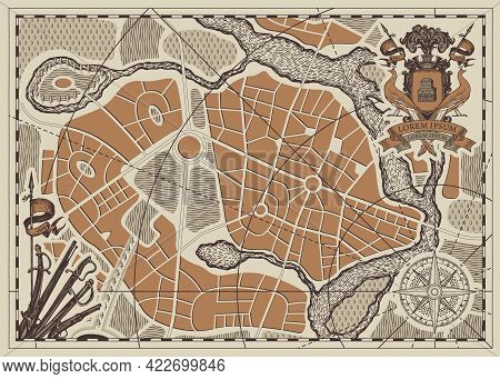 Vector Abstract Military Map With Ornate Ancient Coat Of Arms, Compass Sign, Wind Rose, Old Swords A