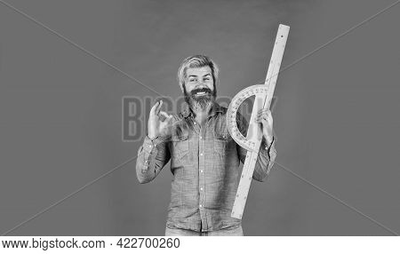 Long Or Short. Bearded Man Use Ruler. Education Concept. Study Hard. School Classes. Measurement Too