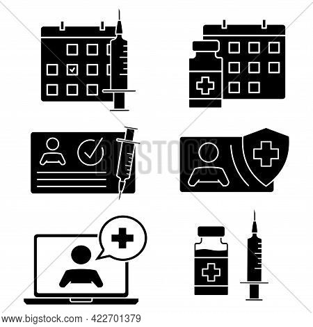 Time To Vaccinate Icons. Medical Card, Syringe, Vial, Calendar, Online Doctor And Other Clinical Ico