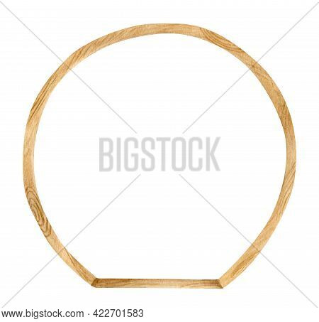 Watercolor Wooden Round Archway. Hand Drawn Wedding Arch With Wood Texture Isolated On White. Geomet