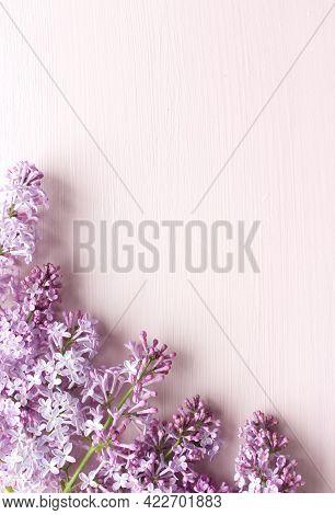 Spring Botanical Floral Composition. Greeting Card Mockups Scene, Purple Lilac. White Table Backgrou