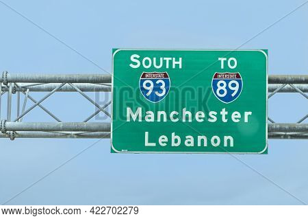 Concord, Usa - September 20, 2017: Signage At Interstate 93 To Direction Manchester And Lebanon.