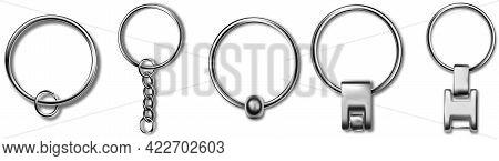 Trinket Keyring Mockup, Metal Keychain Set. Reallistic Set With Metal Keychain. Breloque Illustratio