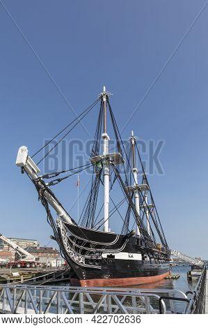 Boston, Usa - September 12, 2017: Battleship Uss Constitution, Boston, Usa In The Harbor.