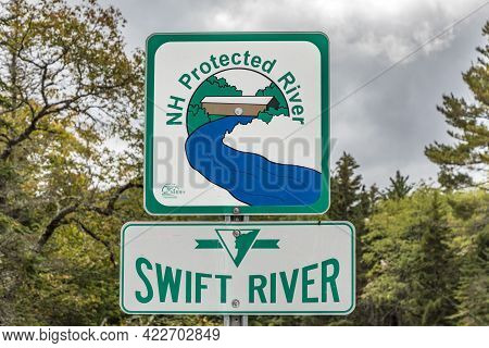 Albany, Usa - September 20, 2017: Signage For River Protection Area At The Swift River In New Hampsh