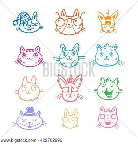 Set With Cute Cartoon Cats. Funny Animals Collection. Doodle Kittens Print. Vector Feline Sticker Pa