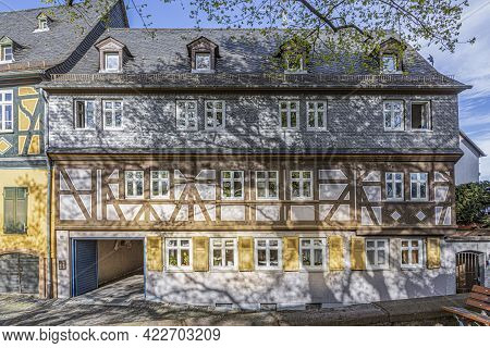 Frankfurt, Germany - April 24, 2021: Facade Of Half Timbered Building From 18th Century  At The Old