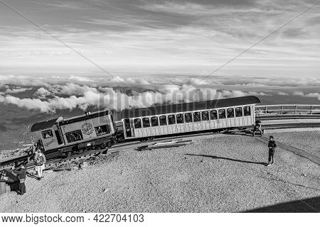 Mt Washington, Nh, Usa - Sep 19, 2017: Mount Washington Cog Railroad At The Top Of Mount Washington