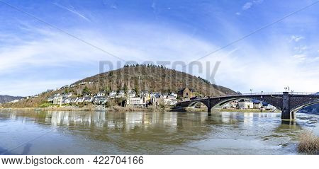 Cochem, Germany - February 14, 2021: View To Old Historic Roman Bridge Spanning River Moselle (mosel