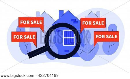 Real Estate With Magnifying Glass And Your Dream House For Sale Concept Vector Flat Illustration. Ag