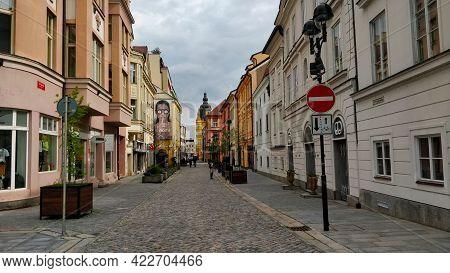 Ceske Budejovice, Czech Republic - May 15, 2021: Historical Street Of City Center Of South Bohemian