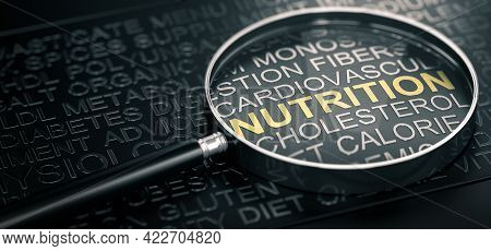 3d Illustration Of Many Words Related To Nutrition And Magnifier Over Black Background.